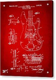 1961 Fender Guitar Patent Artwork - Red Acrylic Print