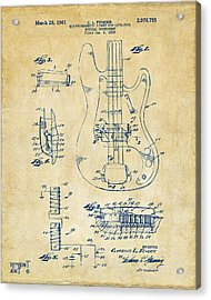 Acrylic Print featuring the digital art 1961 Fender Guitar Patent Artwork - Vintage by Nikki Marie Smith