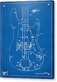 1961 Fender Guitar Patent Minimal - Blueprint Acrylic Print