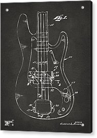 1961 Fender Guitar Patent Minimal - Gray Acrylic Print by Nikki Marie Smith