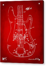 1961 Fender Guitar Patent Minimal - Red Acrylic Print