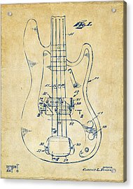 1961 Fender Guitar Patent Minimal - Vintage Acrylic Print