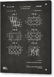 1961 Lego Brick Patent Art - Gray Acrylic Print by Nikki Marie Smith