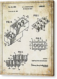 1961 Lego Patent Acrylic Print by Bill Cannon
