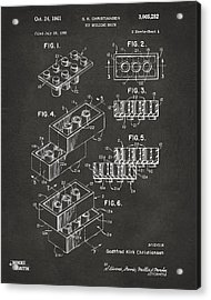 1961 Toy Building Brick Patent Art - Gray Acrylic Print