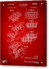 1961 Toy Building Brick Patent Art Red Acrylic Print