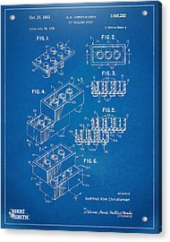 1961 Toy Building Brick Patent Artwork - Blueprint Acrylic Print
