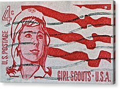1962 Girl Scouts Stamp Acrylic Print by Bill Owen