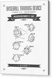 1963 Baseball Training Device Patent Drawing Acrylic Print by Aged Pixel
