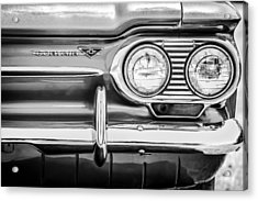 1963 Chevrolet Corvair Monza Spyder Headlight Emblem -0594bw Acrylic Print by Jill Reger