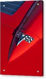 1963 Chevrolet Corvette Hood Emblem Acrylic Print by Jill Reger