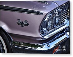 1963 Ford Galaxie Front End And Badge Acrylic Print by Kaye Menner