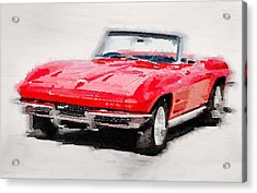 1964 Corvette Stingray Watercolor Acrylic Print