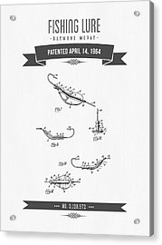1964 Fishing Lure Patent Drawing Acrylic Print by Aged Pixel