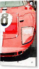 1964 Ford Gt40 Front Detail Watercolor Acrylic Print by Naxart Studio