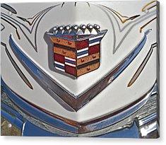 1965 Cadillac Hood Emblem Acrylic Print by Bill Owen