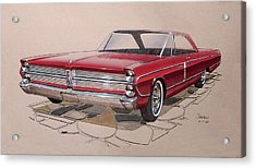1965 Plymouth Fury  Vintage Styling Design Concept Rendering Sketch Acrylic Print