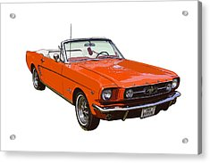 1965 Red Convertible Ford Mustang - Classic Car Acrylic Print