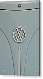 Acrylic Print featuring the photograph 1965 Volkswagen Beetle Hood Emblem by Jani Freimann