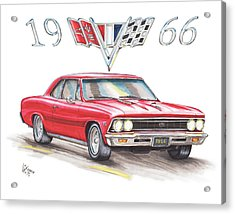 1966 Chevrolet Chevelle Ss At Night Acrylic Print by Shannon Watts