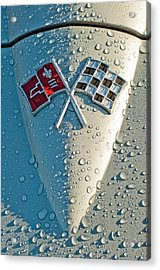 Acrylic Print featuring the photograph 1966 Chevrolet Corvette Sting Ray Hood Emblem by Jill Reger
