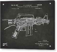 1966 M-16 Gun Patent Gray Acrylic Print by Nikki Marie Smith