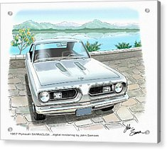1967 Barracuda  Classic Plymouth Muscle Car Sketch Rendering Acrylic Print by John Samsen