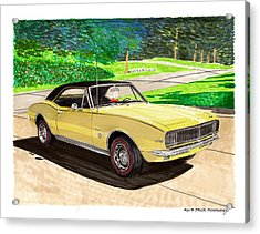 1967 Camaro Rs Art Acrylic Print by Jack Pumphrey