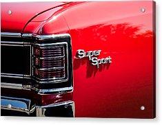 1967 Chevrolet Chevelle Ss Taillight Emblem -0468c Acrylic Print by Jill Reger
