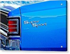 1967 Chevrolet Chevelle Taillight Emblem Acrylic Print by Jill Reger