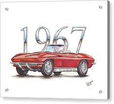 1967 Chevrolet Corvette Sting Ray 427 Convertible Acrylic Print by Shannon Watts