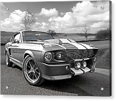 1967 Eleanor Mustang In Black And White Acrylic Print by Gill Billington