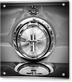 1967 Ford Mustang Gas Cap Emblem -0053bw Acrylic Print by Jill Reger