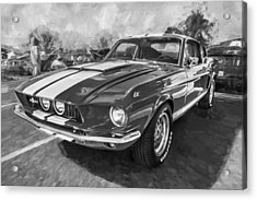 1967 Ford Shelby Mustang Gt500 Painted Bw Acrylic Print by Rich Franco