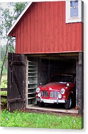 1967 Volvo In Red Sweden Barn Acrylic Print