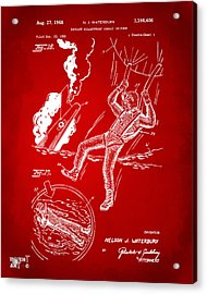 1968 Bulletproof Patent Artwork Figure 16 Red Acrylic Print by Nikki Marie Smith