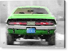 1968 Dodge Challenger Rear Watercolor Acrylic Print