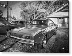 1968 Dodge Charger The Bullit Car Bw Acrylic Print