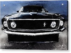 1968 Ford Mustang Shelby Front Watercolor Acrylic Print by Naxart Studio