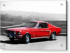 1968 Ford Mustang Watercolor Acrylic Print by Naxart Studio