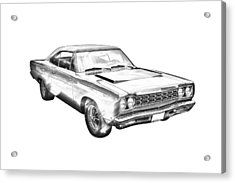 1968 Plymouth Roadrunner Muscle Car Illustration Acrylic Print