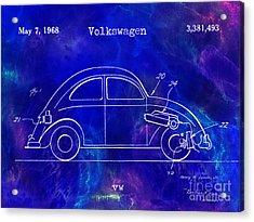 1968 Vw Patent Drawing Blue Acrylic Print by Jon Neidert