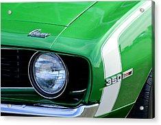 1969 Chevrolet Camaro Ss Headlight Emblems Acrylic Print by Jill Reger