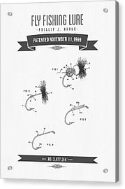 1969 Fly Fishing Lure Patent Drawing Acrylic Print by Aged Pixel