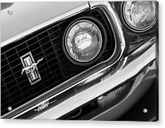 1969 Ford Mustang Boss 429 Grill Emblem Acrylic Print by Jill Reger