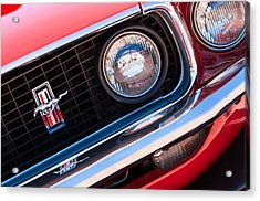 1969 Ford Mustang Boss 429 Grille Emblem Acrylic Print by Jill Reger