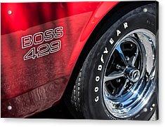 1969 Ford Mustang Boss 429 Sportsroof Side Emblem - Wheel Acrylic Print by Jill Reger
