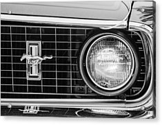 1969 Ford Mustang Mach 1 Grille Emblem Acrylic Print by Jill Reger