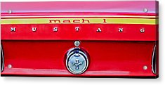 1969 Ford Mustang Mach 1 Rear Emblems Acrylic Print by Jill Reger