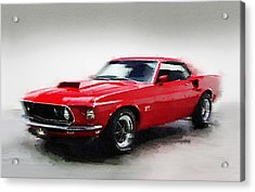 1969 Ford Mustang Watercolor Acrylic Print